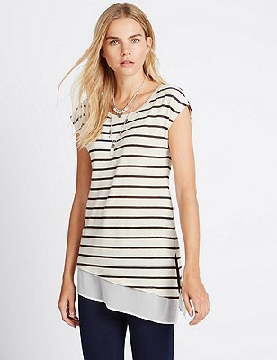 Double Layered Striped Top with Linen, MULTI, catlanding