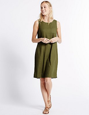 Linen Blend Tunic Dress, KHAKI, catlanding