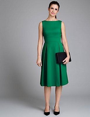 Cotton Blend Fit & Flare Dress, EMERALD, catlanding