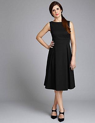 Cotton Blend Fit & Flare Dress, BLACK, catlanding
