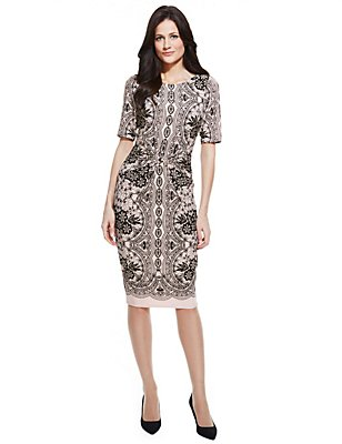 Mirror Effect Lace Short Sleeve Shift Dress, CHAMPAGNE, catlanding