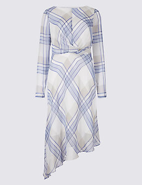 Checked Knot Front Tunic Midi Dress, LILAC MIX, catlanding
