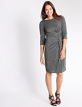 Bodycon-jurk met glitters, ZILVER, catlanding