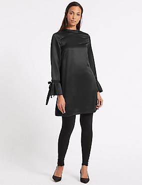 Woven Flared Sleeve Tunic, BLACK, catlanding