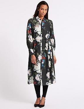 Floral Print Long Sleeve Shirt Dress, BLACK MIX, catlanding