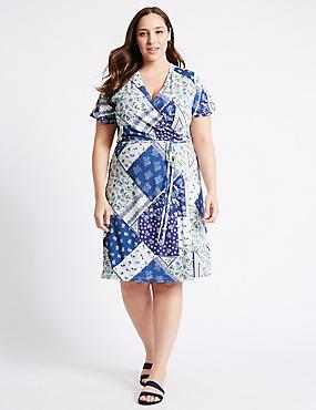 PLUS Floral Print Tie Front Wrap Dress, BLUE, catlanding