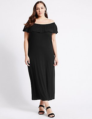 PLUS Bardot Maxi Dress, BLACK, catlanding