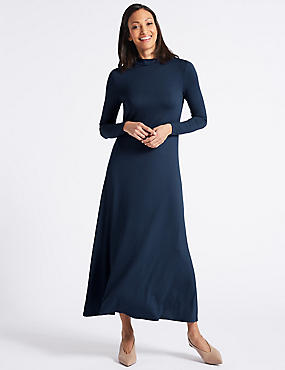 Jersey Turtle Neck Tunic Maxi Dress, NAVY, catlanding