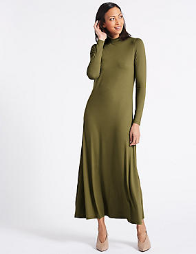 Jersey Turtle Neck Tunic Maxi Dress, KHAKI, catlanding