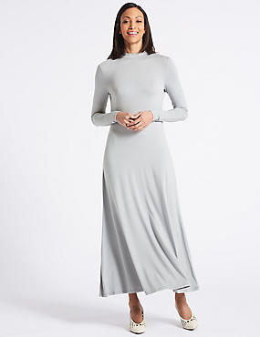 Jersey Turtle Neck Tunic Maxi Dress, SILVER, catlanding