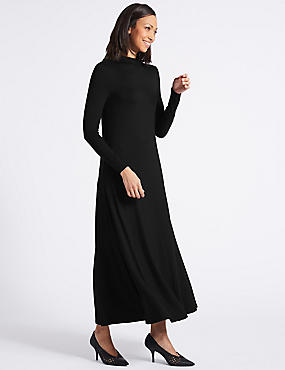 Jersey Turtle Neck Tunic Maxi Dress, BLACK, catlanding