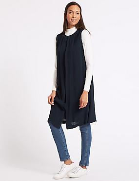 Longline Tunic Dress, NAVY, catlanding