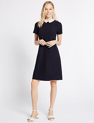 Contrasting Collar Short SLeeve Shift Dress, NAVY MIX, catlanding