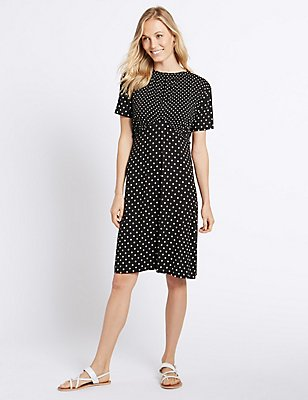 Spotted Ruffle Short Sleeve Skater Dress, BLACK MIX, catlanding
