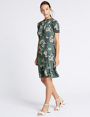 Ditsy Print Ruffle Short Sleeve Shift Dress, PINK MIX, catlanding