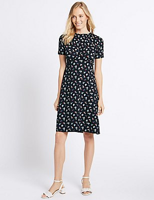 Ditsy Print Ruffle Short Sleeve Shift Dress, MULTI, catlanding