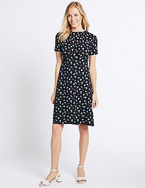 Ditsy Print Ruffle Short Sleeve Shift Dress, MULTI, catlanding