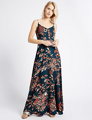 Floral Print Maxi Slip Dress, BLUE MIX, catlanding