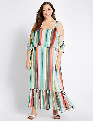 PLUS Striped Flared Maxi Dress, MULTI, catlanding