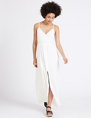 Lace Trim Slip Maxi Dress, WHITE, catlanding
