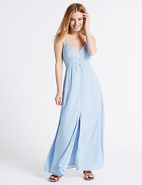 PETITE– Fond de robe coupe longue bordé de dentelle, BLEU, catlanding