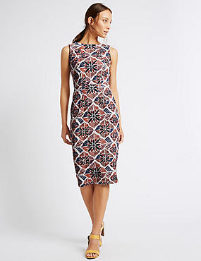 Tile Print Shift Dress, BEIGE MIX, catlanding