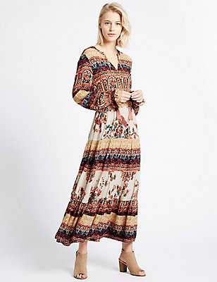 Floral Print Long Sleeve Midi Dress, IVORY MIX, catlanding