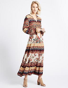 Midi-jurk met lange mouwen en bloemmotief, IVOOR MIX, catlanding