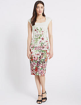 Cotton Rich Floral Print Bodycon Dress, IVORY MIX, catlanding
