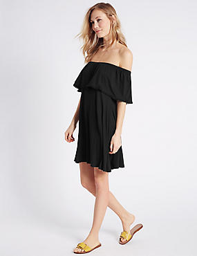 Pom Pom Trim Bardot Half Sleeve Swing Dress, BLACK, catlanding