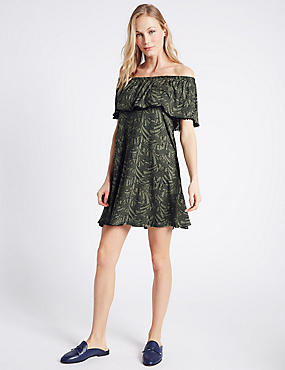 Animal Print Pom Pom Bardot Swing Dress, KHAKI MIX, catlanding