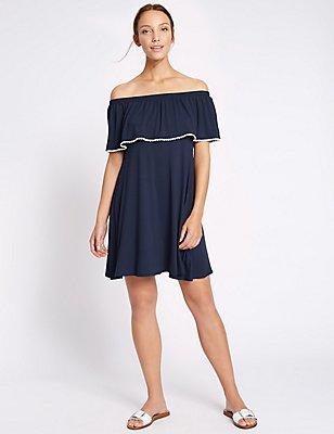 Contrasting Pom Pom Bardot Shift Dress, NAVY, catlanding