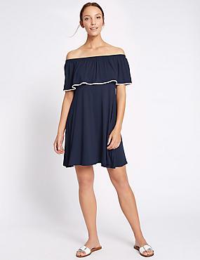 Rechte jurk met bardot-hals, contrasterende print en pompondetail, MARINE, catlanding