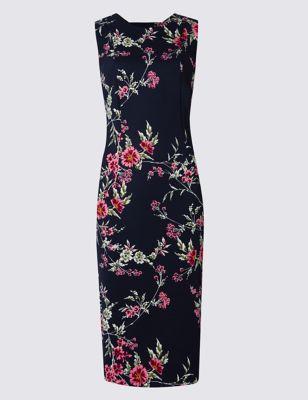 Платье-бодикон без рукавов с открытой спиной и цветочным рисунком