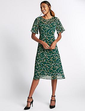 Printed Daisy Floral Midi Dress, GREEN MIX, catlanding