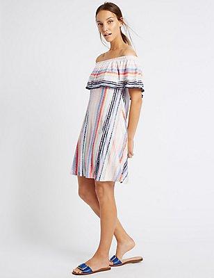 Striped Short Sleeve Bardot Skater Dress, MULTI, catlanding