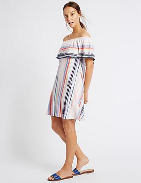 Pom Pom Stripe Bardot Skater Dress, MULTI, catlanding