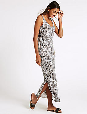 Printed Maxi Dress, IVORY MIX, catlanding