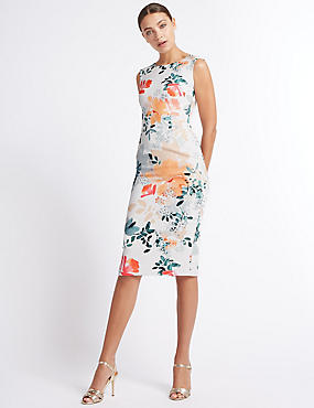 Floral Print Bodycon Midi Dress, CREAM MIX, catlanding