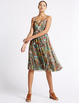 Floral Print Midi Dress, GREEN MIX, catlanding