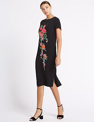 Embroidered Short Sleeve Tunic Midi Dress, BLACK MIX, catlanding