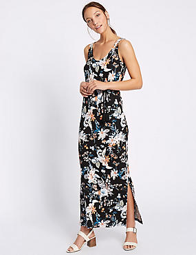 Havana Floral Print Maxi Dress with Belt, BLUE MIX, catlanding