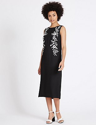 Floral Embroidered Tunic Midi Dress, BLACK MIX, catlanding