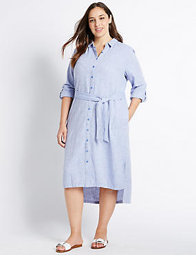 PLUS Linen Rich Chambray Shirt Midi Dress, CHAMBRAY, catlanding
