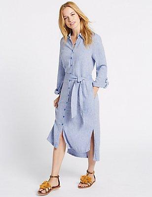 PETITE Linen Rich Chambray Shirt Midi Dress, CHAMBRAY, catlanding