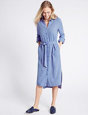 Linen Rich Shirt Midi Dress with Belt, CHAMBRAY, catlanding