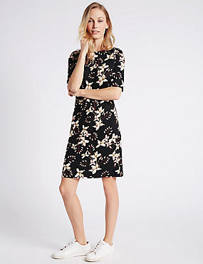 Floral Print Tunic Dress, BLACK MIX, catlanding