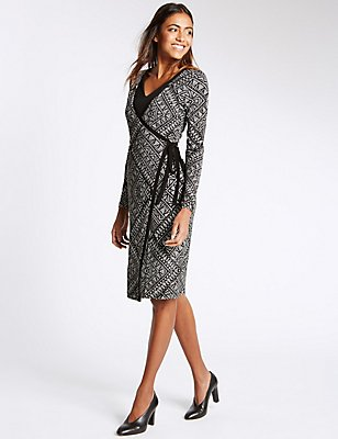 Printed Tribal Layered Wrap Dress with Tie, IVORY MIX, catlanding