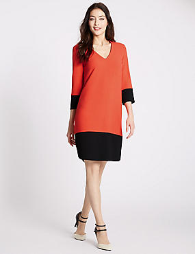 Colour Block Tunic Dress, ORANGE MIX, catlanding