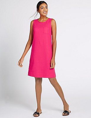 Linen Blend Tunic Dress, RASPBERRY, catlanding